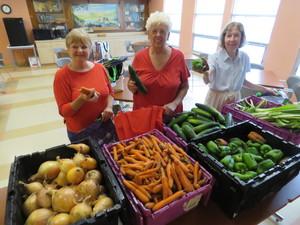 Volunteers at the Senior Center: Margaret LaPalme, Shirley Bak, and Susan Holden. Phot: John Body