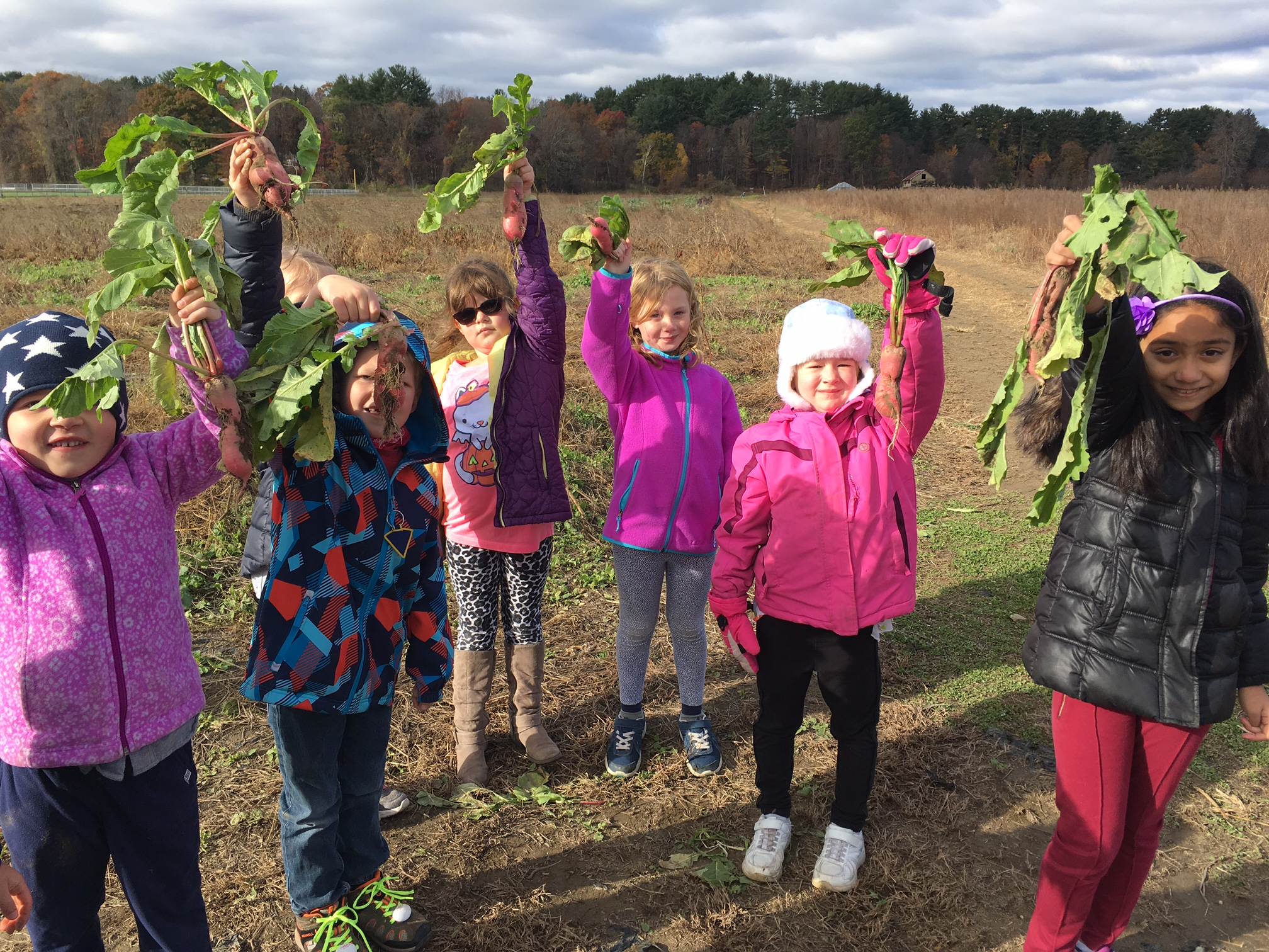 Students on a field trip at Crimson & Clover Farm