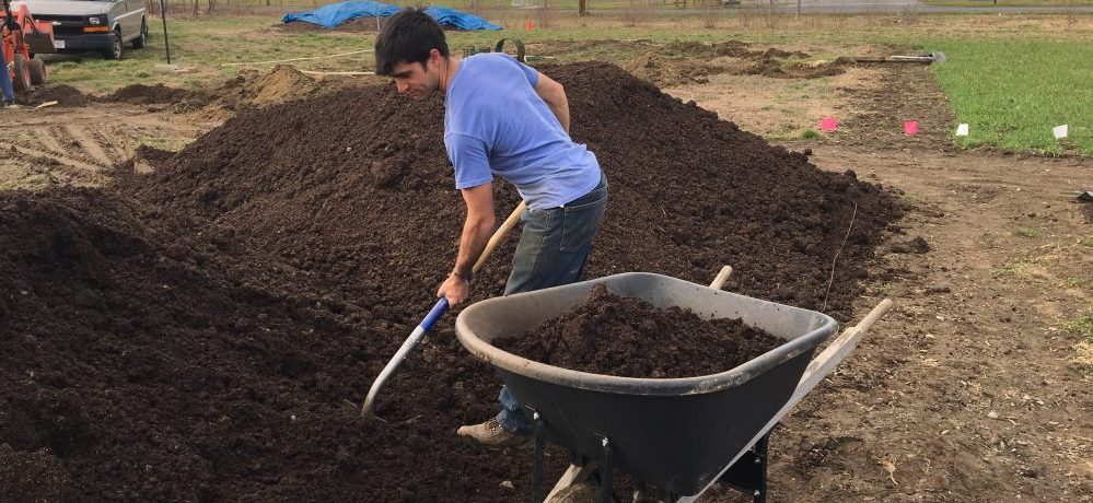 Diego With Shovel And Wheelbarrow, Shoveling From Two Large Piles Of Compost